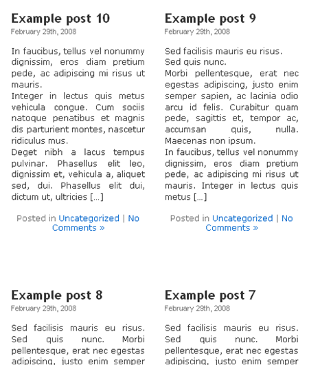 Posts in two columns in WordPress