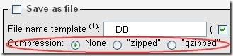 Compress export file in PHPMyAdmin