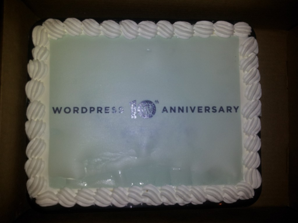 WordPress 10th anniversary cake
