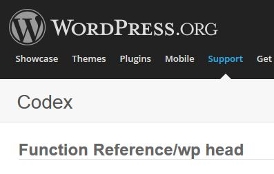 WordPress function: wp_head